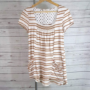 Anthropologie Meadow Rue striped eyelet tunic top